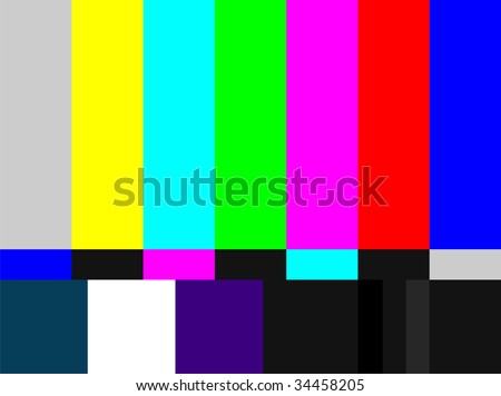 Television colored bars signal. Test signal at the introduction and the end of the TV programming. - stock photo