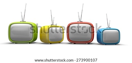 Television. 3D. Four colorful television sets isolated on white background - stock photo