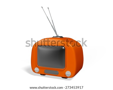 Television. 3D. Stylish retro TV - stock photo