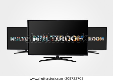 Television multi-room technology. Display with multiple masked images - stock photo