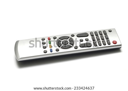 television remote on a white background - stock photo
