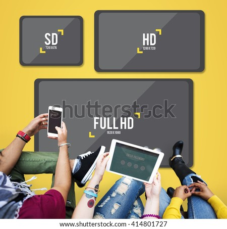 Television Resolution Multimedia Technology Concept - stock photo