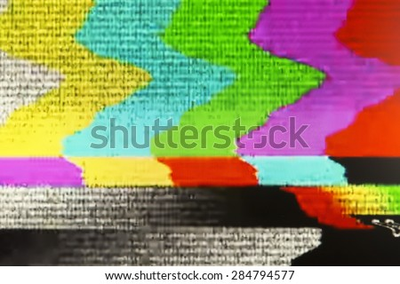 Television screen with static noise caused by bad signal reception - stock photo