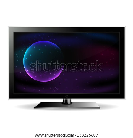 Television showing the space isolated on white background - stock photo