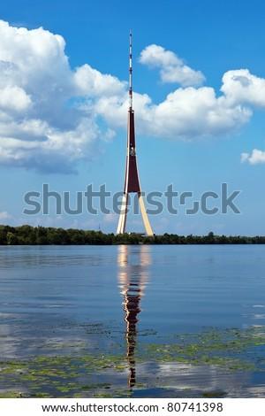 Television tower on the Daugava river - stock photo