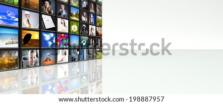 Television video wall, LCD TV panels with copyspace - stock photo