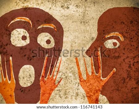 telling secrets concept illustration - stock photo