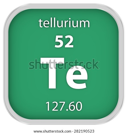 Tellurium material on the periodic table. Part of a series. - stock photo
