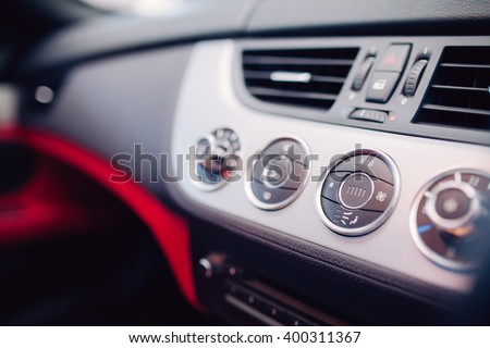 temperature control device on car center console - stock photo