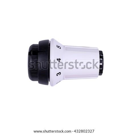 Temperature knob of heating radiator isolated on white background. Heater thermostat on white. - stock photo