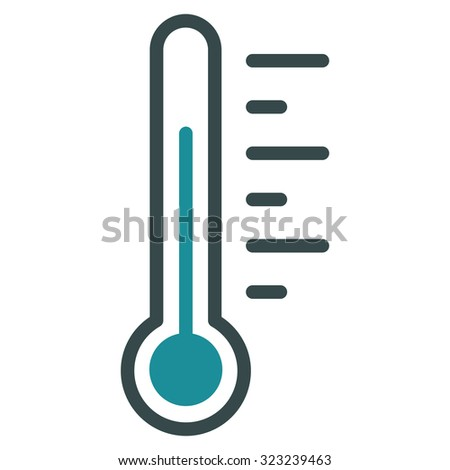 Temperature Level glyph icon. Style is bicolor flat symbol, soft blue colors, rounded angles, white background. - stock photo
