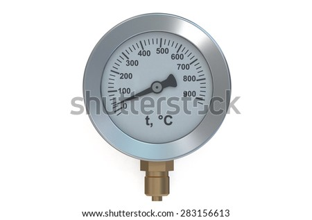 Temperature meter gauge isolated on white background - stock photo