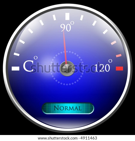 Temperature reading on dashboard - stock photo