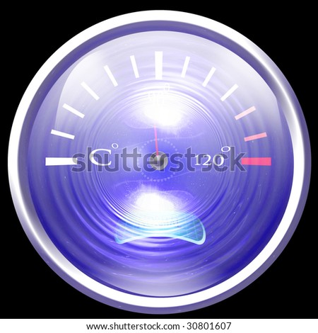 Temperature reading on dashboard on a black background - stock photo