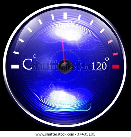 Temperature reading on dashboard on a solid black background - stock photo