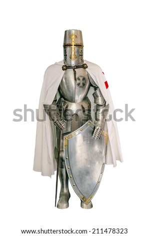 Templar knight isolated over a white background - stock photo