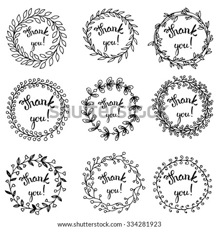 Template design of logo, stamp silhouette Thank you!. Hand  letterring. Design for advertisement, greeting cards and social media content. Raster version - stock photo