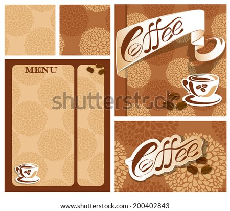 Template designs of menu and business card for coffee house  with coffee cup, beans, calligraphic text COFFEE. Background for restaurant or cafe menu, seamless patterns available.  Raster version - stock photo