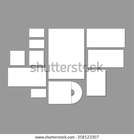 Template for branding and identity. Promoting and presentations corporate design and visualization. Consists of the elements paper, a4 letterheads, business card, envelope on gray background. - stock photo