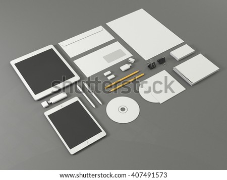 Template for branding identity with tablet computer and mini tab. On gray background. Hgh resolution realistic 3d illustration - stock photo