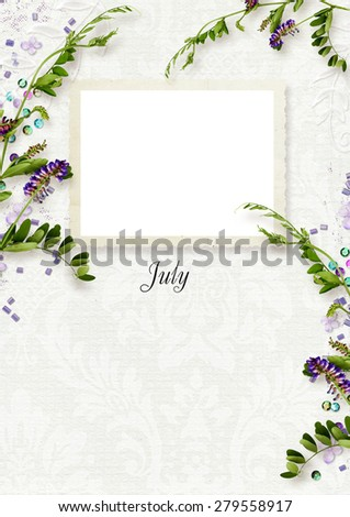 Template for calendar with the name of the month and frame for photo - stock photo