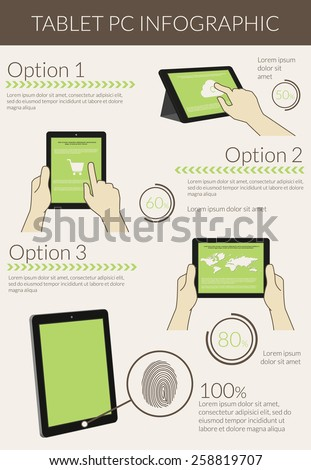 Template infographic visualization of usability tablet pc. free font Lato - stock photo