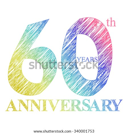 template logo with a circle for anniversary. 60 - stock photo