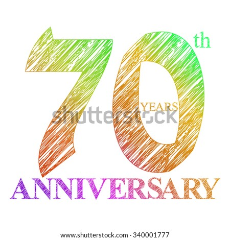 template logo with a circle for anniversary. 70 - stock photo
