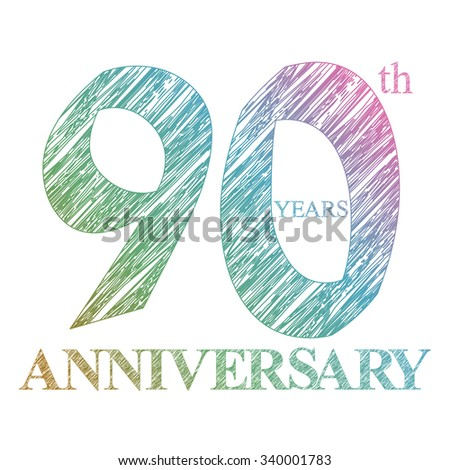 template logo with a circle for anniversary. 90 - stock photo