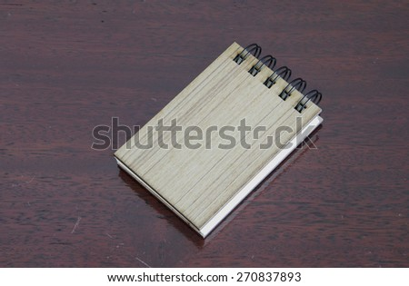 Template of a wooden notebook with cover on a spring. A background for design. - stock photo