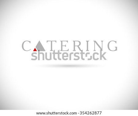 Template of catering company logo. Logo design collection. Catering, outdoor events and restaurant service insignia, food icons.  - stock photo