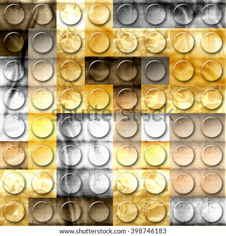 Template of metal construction brick parts of gold, metal,iron,copper,platinum and silver - stock photo