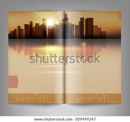 template print edition of the magazine with night city - stock photo
