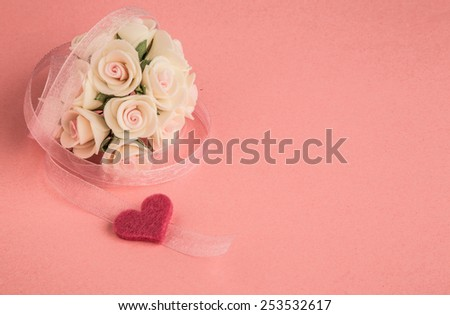 template with rose, heart and ribbon - stock photo