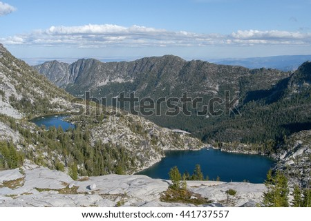 Temple and Viviane Lakes as seen from above in the Enchantment Lakes area of the Alpine Lakes, Washington State, USA - stock photo