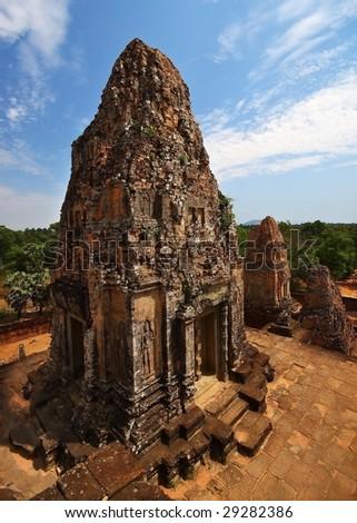 temple at angkor - stock photo