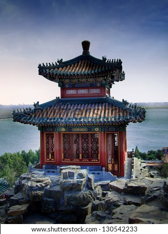 Temple at Summer Palace in Beijing - stock photo