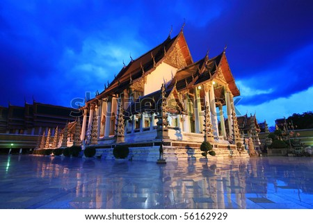 Temple at twilight, Suthat Temple, Bangkok, Thailand - stock photo