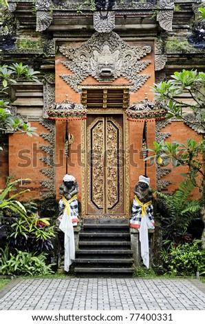 temple door in ubud in bali indonesia - stock photo