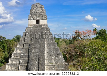 Temple I of the Maya archaeological site of Tikal in Guatemala - stock photo