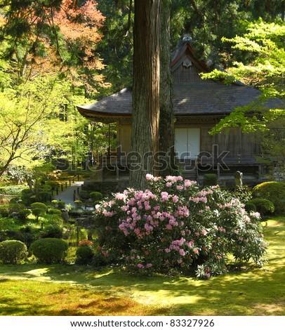 Temple in a japanese garden in Ohara near Kyoto - stock photo