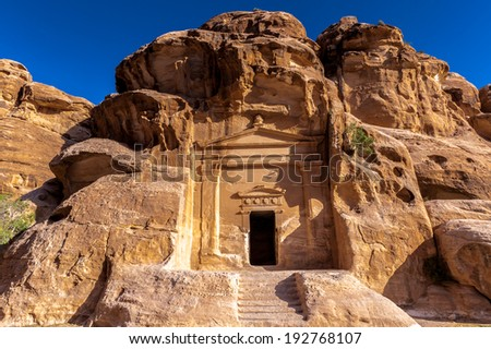 Temple in Little Petra, Siq al-Barid, Jordan - stock photo