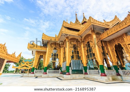 Temple Kyauk Taw Gyi Pagoda in Yangon, Myanmar (Burma) They are public domain or treasure of Buddhism, no restrict in copy or use  - stock photo