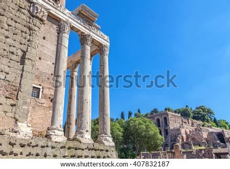 Temple of Antoninus and Faustina. Roman forum. - stock photo