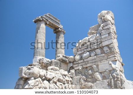Temple of Apollo in antique city of Didyma - stock photo
