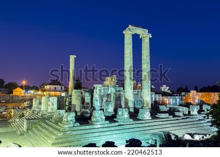 Temple of Apollo in Didyma antique city at twilight Turkey 2014 - stock photo