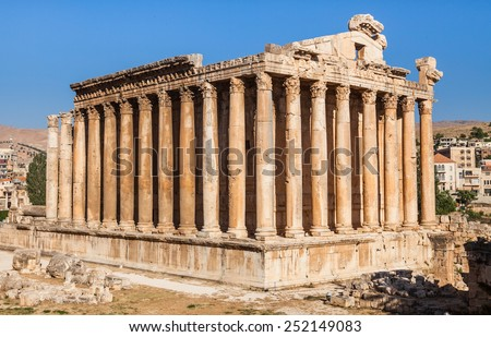 Temple of Bacchus in Baalbek ancient Roman ruins, Beqaa Valley of Lebanon. Known as Heliopolis during the period of Roman Empire. - stock photo