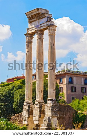 Temple of Castor and Pollux - The Roman Forum. One of the most famous tourist attractions in Rome, Italy. - stock photo