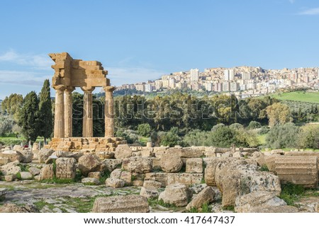 Temple of Dioscuri (Castor and Pollux). UNESCO World Heritage Site.  Valley of the Temples. Agrigento, Sicily, Italy - stock photo