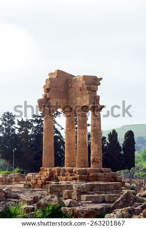 Temple of Dioscuri (Castor and Pollux). Valley of Temples, Agrigento.  - stock photo
